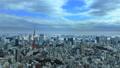 東京風景東京鐵塔,東京灣覆蓋天空的雲彩流動時間間隔麵包 48000654