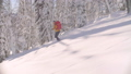 Skitour in Siberia. A man riding down the hill in a snowy forest. 48039405