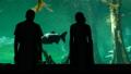 Romantic couple look on fish in oceanarium 48041803