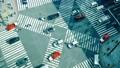 东京时间流逝银座Sekiyabashi交叉路口俯视拍摄汽车和人流的流动FIX Karagure 48109465