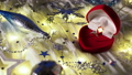 Christmas and New Year background with holiday decoration and diamond engagement ring in red heart 48154045