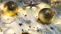 Christmas and New Year background with shiny balls, sparkling snowflakes and confetti. 48154046
