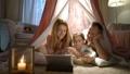 family, tent, popcorn 48197184