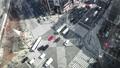 东京时间流逝银座Sekiyabashi交叉路口俯视拍摄汽车和人流的流动缩小 48261114