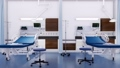 Empty hospital beds in emergency room interior 3D 48327397