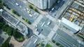 东京·大都会交叉口·时间流逝·真实概览拍摄·人群流动的绿色和阳光放大 48453097