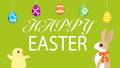 イースターアニメーション しゃべるウサギとヒヨコ イースターエッグと文字 黄緑色背景  48466269
