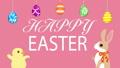 イースターアニメーション しゃべるウサギとヒヨコ イースターエッグと文字 ピンク色背景 48466271