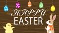 イースターアニメーション しゃべるウサギとヒヨコ イースターエッグと文字 木目背景 48466272