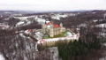 View from the height of the castle in Nowy Wisnicz in winter, Poland 48487253