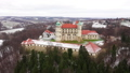 View from the height of the castle in Nowy Wisnicz in winter, Poland 48487366