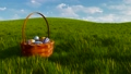 Basket with colorful easter eggs among green grass 48580336