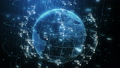 Earth Planet Hologram and Network Grid with Numbers Seamless Rotation in Cyberspace Elements. Looped 48606250