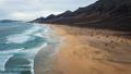 Flight over desert beach on Fuerteventura, Spain 48634741