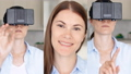 Woman in 360 glasses make gestures. Female use virtual reality simulator. Vertical video for mobiles 48645224