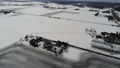 雪に覆われた畑に撒かれた融雪剤で描かれた幾何学的な風景を空撮 48663030