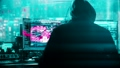 Animation of the unrecognizable computer hacker in black jacket with grey hoody hacking artificial 48668085