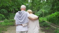 Senior couple walk in park. Active modern life after retirement. Happy family enjoy time together 48688611