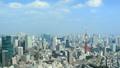 東京風景東京鐵塔,流動在六本木光和陰影時間間隔平底鍋上的天空的雲彩 48692926
