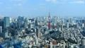 東京風景東京塔中心雲彩流過天空光和陰影時間間隔平底鍋 48693067