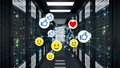 Social Media Icons Moving with Network Grid in Server Room Seamless. Smiles, Thumbs up and Hearts 48775722