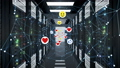 Social Media Icons Moving with Network Grid in Server Room Seamless. Smiles, Thumbs up and Hearts 48777073