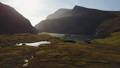 Small village church in Saksun and a nearby lake located on the island of Streymoy, Faroe Islands 48845388
