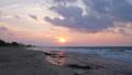 Beautiful sunset over sea waves 48880618