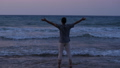 Man rise hands standing on sea beach at sunset 48899668