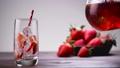 Glass of red lemonade or juice 48933286