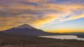 富士山と夕焼けの空、山梨県山中湖にて 48936821