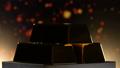 Shining bars of gold turning around on pedestal  48954763