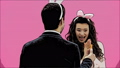 Young couple are beautiful on pink background. During this time, they are dressed in rabble ears 49076917