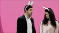 Young couple are beautiful on pink background. During this time, they are dressed in rabble ears 49076941