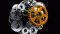Metal Gears Mechanism Standing Idle Until New Cogwheel Appearing and Repairing System to Work 49083979