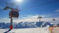 Mountain winter ski lift sun 49090165