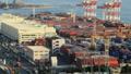 交易基地Aomi集装箱码头Timelapse倾斜下来 49097793