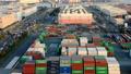 交易基地Aomi集装箱码头Timelapse倾斜下来 49098081