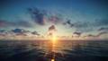 Flight oversea against beautiful sunset 49198080