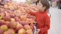 Funny little boy picking apple from the box, during family shopping in hypermarket 49204878