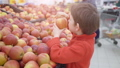 Funny little boy picking apple from the box, during family shopping in hypermarket 49204882