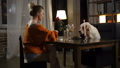 Supper of best friends: pretty woman and cute dog 49228213