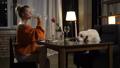 Relaxed female owner feeding cute labrador dog 49228216