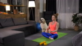 Relaxed female with dog practicing yoga lotus pose 49228243
