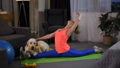 Flexible woman doing stretching sitting on split 49228288