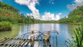 Old wooden fishing boats in a calm lake water in a still lake water at the Siargao, Philippines 49245706