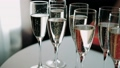 Waiter pours champagne in glasses on wedding. Close up 49261154