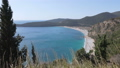 view over beach and lagoon Jaz towards beautiful green mountains on Montenegro 49262641