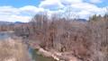 鸟瞰图河和蓝天秋田县3月自然风景 49367268