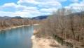 鸟瞰河和蓝天秋田县自然风景3月 49367284